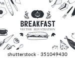 vector breakfast  food hand... | Shutterstock .eps vector #351049430