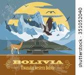 bolivia landmarks. retro styled ... | Shutterstock .eps vector #351052040