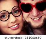 happy young man in heart shaped ... | Shutterstock . vector #351060650