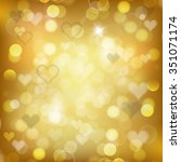 gold background with hearts.... | Shutterstock .eps vector #351071174