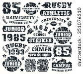 rugby team typographic elements ...