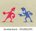 hard conversation. two angry... | Shutterstock .eps vector #351081293