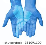 hands with south america  south ... | Shutterstock . vector #351091100