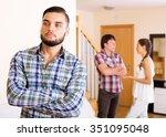 quarrel in adult polygamous...   Shutterstock . vector #351095048