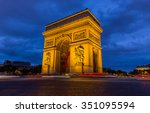 paris arc de triomphe at night...   Shutterstock . vector #351095594