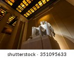 lincoln memorial illuminated at ... | Shutterstock . vector #351095633
