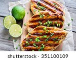 grilled chicken breasts in lime ... | Shutterstock . vector #351100109