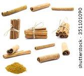 cinnamon isolated on white... | Shutterstock . vector #351101090
