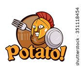 potato spartan warrior cartoon | Shutterstock .eps vector #351118454
