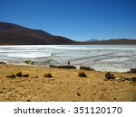borax mines in andean lagoon on ...   Shutterstock . vector #351120170