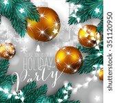 christmas wreath with fir branch | Shutterstock .eps vector #351120950