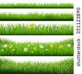 grass borders big set  | Shutterstock . vector #351123890