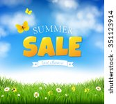 summer sale with grass and... | Shutterstock . vector #351123914
