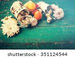 easter background on wooden... | Shutterstock . vector #351124544