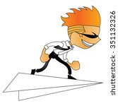 doodle man character on paper... | Shutterstock .eps vector #351132326