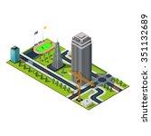 bank building in downtown.... | Shutterstock .eps vector #351132689