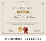 certificate of recognition with ... | Shutterstock .eps vector #351137783