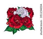hand drawn wedding rose ... | Shutterstock .eps vector #351154034