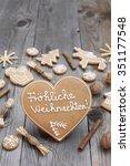 heart shaped christmas... | Shutterstock . vector #351177548
