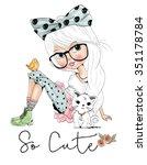 girl | Shutterstock .eps vector #351178784