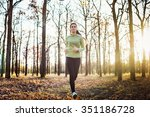 female running in park. young... | Shutterstock . vector #351186728