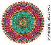 vector colorful mandala. round... | Shutterstock .eps vector #351187973