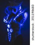 fiber optics blue led lights... | Shutterstock . vector #351198683