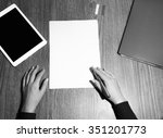 hands writing on a white paper. ... | Shutterstock . vector #351201773