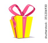 big yellow gift box with a... | Shutterstock .eps vector #351206930