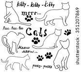 hand drawn sketch cats... | Shutterstock . vector #351207869