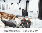 speaker at business convention... | Shutterstock . vector #351211949