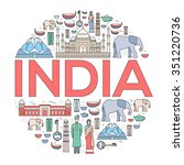 country india travel vacation... | Shutterstock .eps vector #351220736