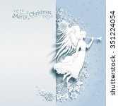 christmas card with silhouette... | Shutterstock .eps vector #351224054
