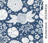 vintage vector seamless flower... | Shutterstock .eps vector #351246410
