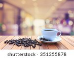 close up white coffee cup and... | Shutterstock . vector #351255878