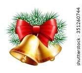 christmas golden bells with red ... | Shutterstock .eps vector #351260744