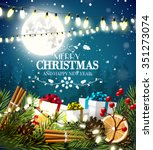 christmas greeting card with... | Shutterstock .eps vector #351273074