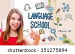 language school concept with... | Shutterstock . vector #351275894