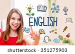 english concept with young... | Shutterstock . vector #351275903