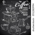 hand drawn coffee set on... | Shutterstock .eps vector #351283994