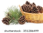 Basket With Cones Isolated On A ...