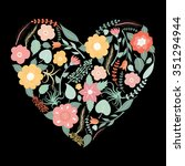 floral  art heart shape for... | Shutterstock .eps vector #351294944