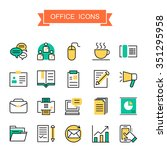 office icons collection in thin ... | Shutterstock .eps vector #351295958