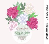 bouquet with two pink and white ... | Shutterstock .eps vector #351296069