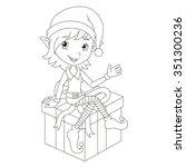 Cute Christmas Elf Sitting On...
