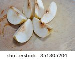 Chinese Pear Cut On Wooden Cho...