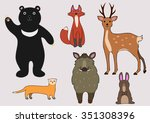 animals of the forest | Shutterstock .eps vector #351308396