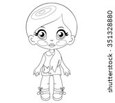 contour kawaii doll  coloring... | Shutterstock .eps vector #351328880