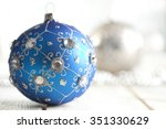 christmas bauble on silver...   Shutterstock . vector #351330629