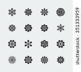 flowers vector icon set | Shutterstock .eps vector #351333959
